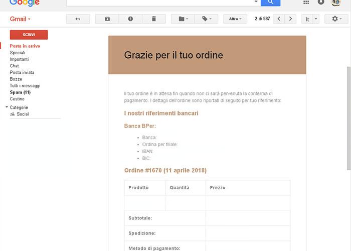 Ordine Online Conferma d'Ordine