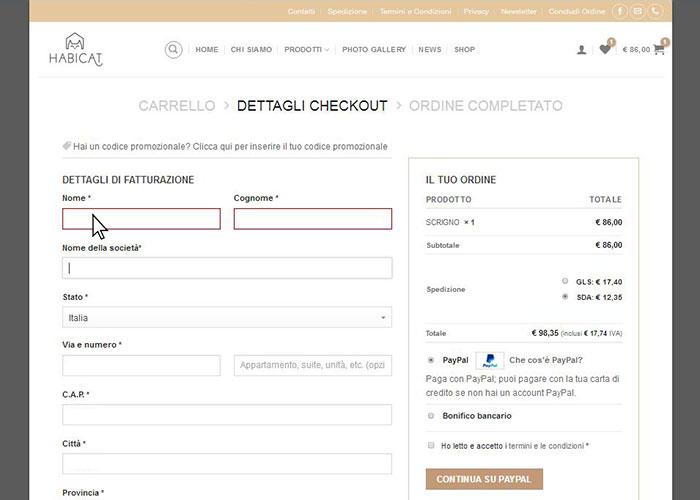 Ordine Online Compilazione Dati