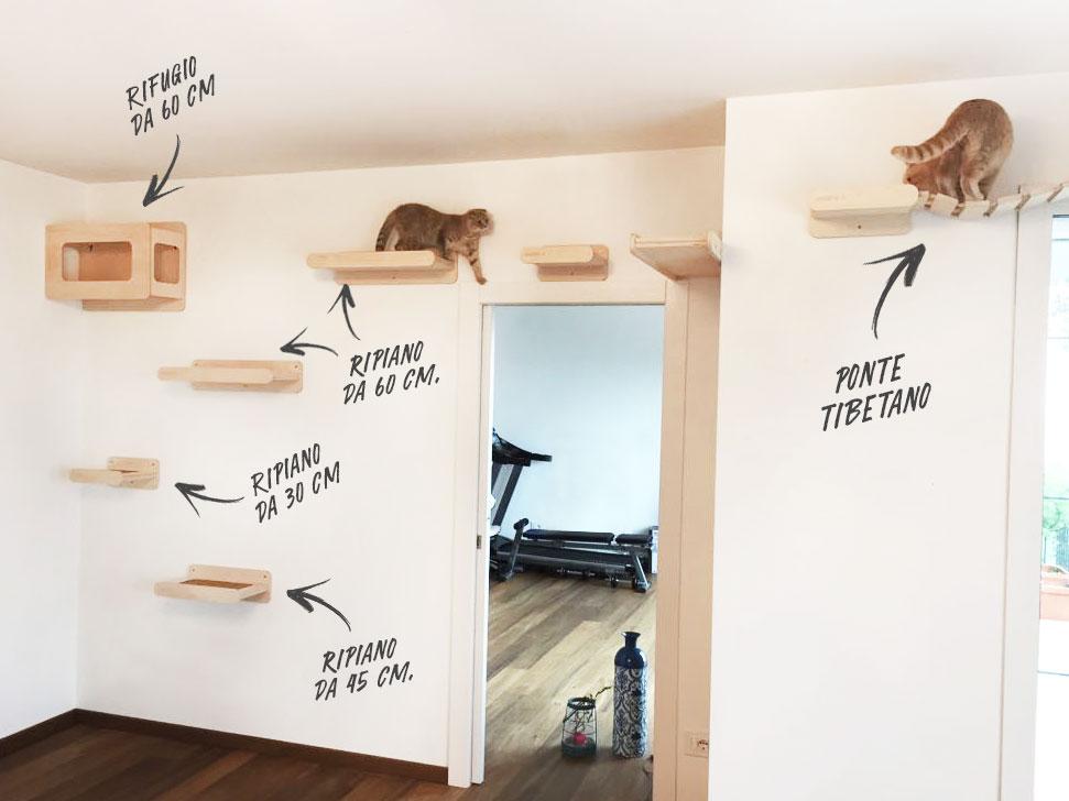 Pareti attrezzate per gatti in legno naturale design e for Parete attrezzata gatti