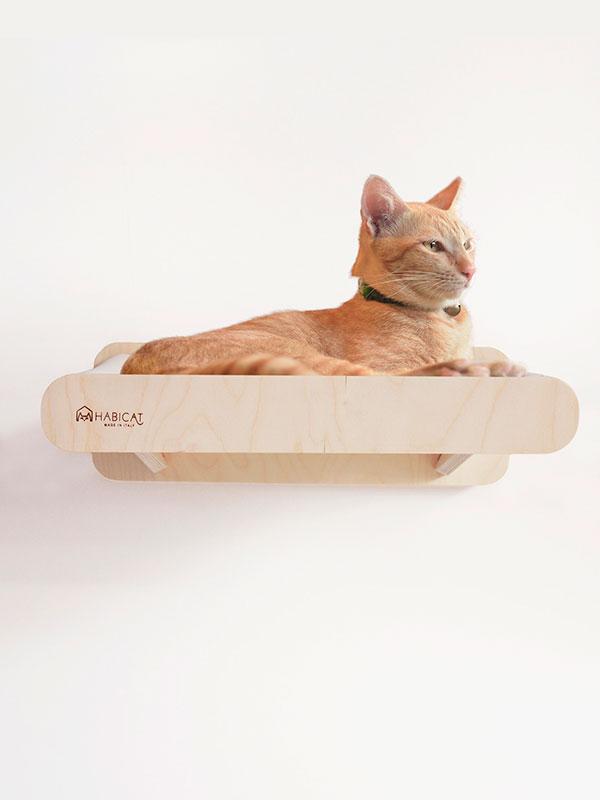 Parete attrezzata per gatti modulo amaca in legno e for Parete attrezzata gatti