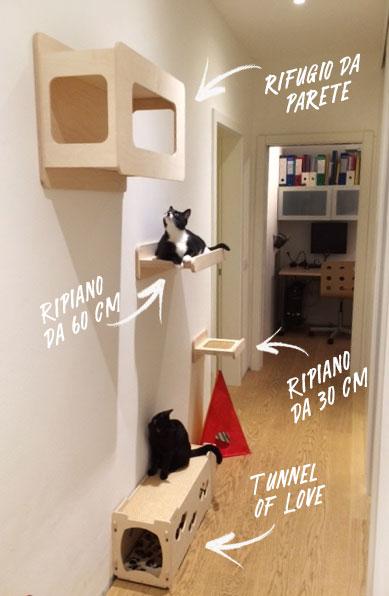 Esempio parete attrezzata per gatti - corridoio
